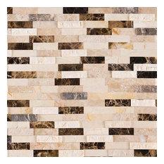 Peel & Stick Real 3D Stone Mosaic Backsplash & Wall Tile, Emperador Blend, Sampl