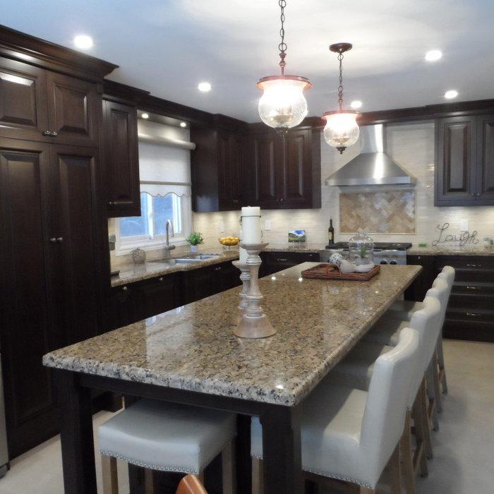 Beautiful warm dark wood finish Kitchen