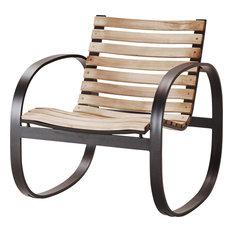 Parc Rocking Chair, Teak Wood, Lava Gray Aluminum