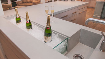 Residential Concrete Bar with Integrated Champagne Trough and Sink