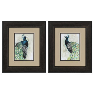 Watercolor Peacock, Set of 2