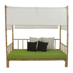 Bamboo Daybed With Canopy And Green Mattress