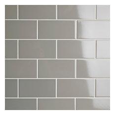 "3""x6"" Malda Subway Ceramic Wall Tiles, Set of 136, Warm Gray"