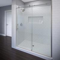 """Vinesse Frameless Sliding Shower Door, Fits 57-59"""", Brushed Nickel, Aquaglidexp"""