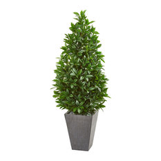 "57"" Bay Leaf Cone Topiary Tree in Slate Planter UV Resistant (Indoor/Outdoor)"