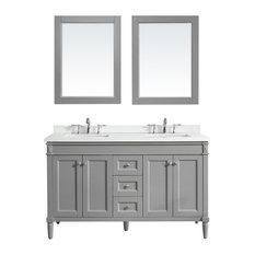 """Catania Double Vanity, Gray, 60"""", With Mirror"""