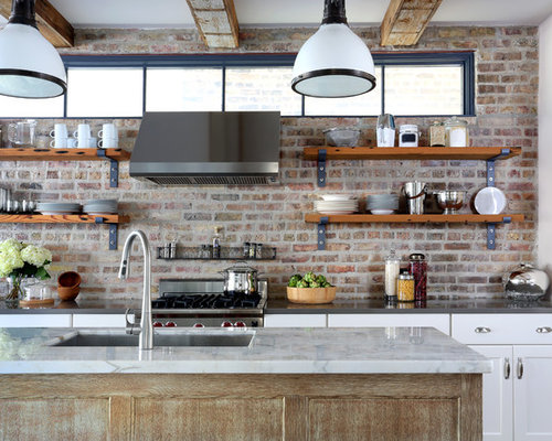 exposed brick kitchen backsplash - backsplashes