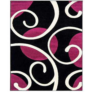 Couture COU04 Rug, Black and Purple, 60x120 cm