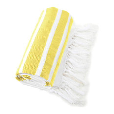 Herringbone Pestemal Towel, Yellow and White