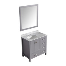 "Chateau 36"" Vanity With Carrara White Marble Top and Mirror, Gray"