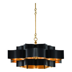 Currey and Company Grand Lotus Black Chandelier