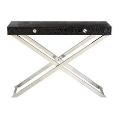 """Stainless Steel Leather Console Table, 43""""x32"""""""