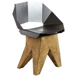 Angular Steel Stool With Short Backrest, Natural