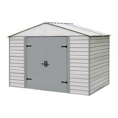 Arrow Storage Products Steel Shed 10'x7' High, Gable Stoney/Creamy Vanilla