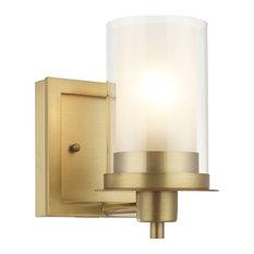 Juno Brushed Brass 1 Light Wall Sconce, Bathroom Fixture