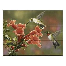 Tile Mural, Hummingbirds And Trumpet by William Vanderdasson