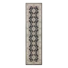 """Oriental Black Persian Wool Handmade Runner, 2'7""""x10'2"""""""
