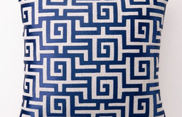 Greek Key Down-Filled Embroidered Pillow, Navy