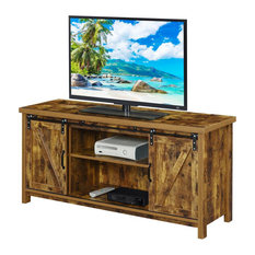 Convenience Concepts Blake Barn Door TV Stand In Cinnamon Wood Finish