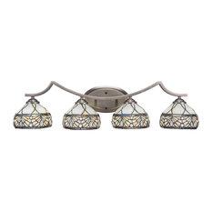 "Zilo 4 Light Bath Bar, Graphite Finish, 7"" Royal Tiffany Glass"