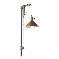 Peared Creation   Industrial Floor Lamp, Edison Bulb, Aged Copper Shade   Floor  Lamps