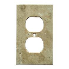 "Light Walnut Travertine Switch Plate Cover Duplex, 2.75""x4.5"""