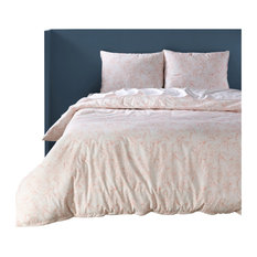 Blooming Coral Cotton Percale Printed Duvet Cover Set, Queen