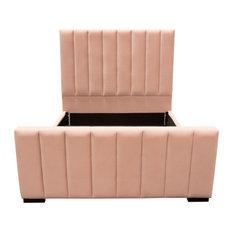 Venus Vertical Channel Tufted Bed, Velvet, Blush Pink, Queen