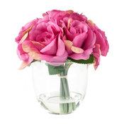 Pure Garden Rose Floral Arrangement With Glass Vase, Pink