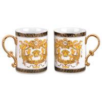 Royalty Porcelain White Coffee/Tea Cup Mug, Luxury Greek Key, 13 oz., Set of 2