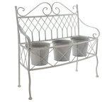 3 pots light grey metal garden bench plant stand