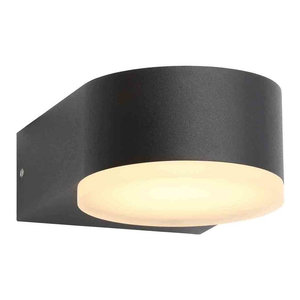 Stanley Eider Outdoor LED Wall Downlighter, Black, Large