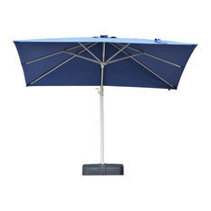 LED Lights 10ft by 10ft Black Aluminum Patio Umbrella With Base
