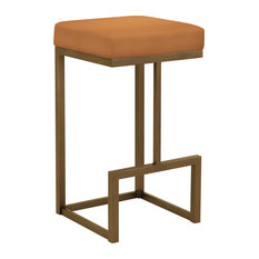 "Molly 26"" Counter Height Backless Barstool, Faux Leather, Copper Bisque"