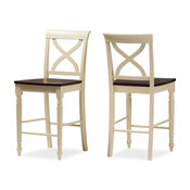 Country Cottage Counter-Height Wooden Chairs, Set of 2