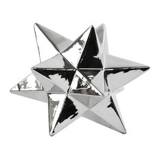 Ceramic 12-Point Stellated Icosahedron Sculpture Small Polished