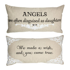 Daughters Quote Double Sided Pillow With Removable Silver Winged Heart Pin