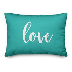 Love, Teal 14x20 Lumbar Pillow