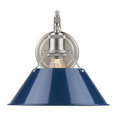Orwell 1-Light Wall Sconce, Pewter Navy Blue Shade