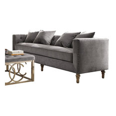 ACME Sidonia Sofa With 4 Pillows In Gray Velvet