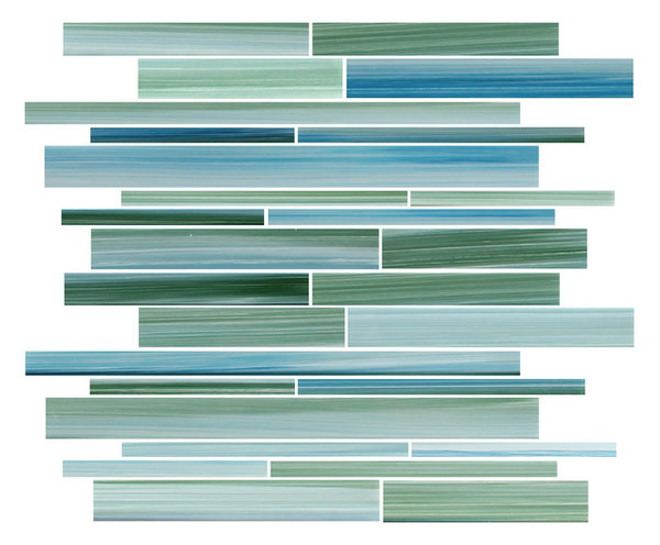 Rip Curl Green And Blue Hand Painted Linear Glass Mosaic