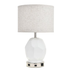 Brio Collection 1-Light Polished Nickel Finish Table Lamp by Elegant TL3007 in