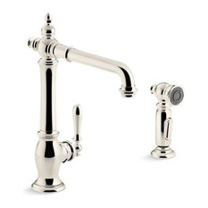 "Kohler Artifacts Kitchen Faucet w/ 13-1/2"" Swing Spout, Vibrant Polished Nickel"