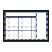 "Framed Glass Dry Erase Board, Blue Chevron Calendar, 38""x26"""