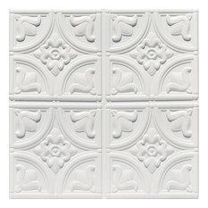 "Tiny Tulips, Faux Tin Ceiling Tile, Glue up, 24""x24"", #148, White Matte"