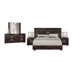 Georgia Classic 5-Piece Modern Bedroom Set, Glossy Walnut, Queen