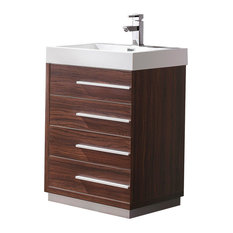 Livello 24-inch Bathroom Cabinet Base: Walnut With Integrated Sink