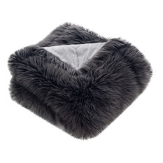 "50""x60"" Gray Shadow Fox Faux Fur Throw, Dark Gray"