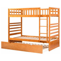 Bunk Bed Twin Over Twin, Trundle Bed Set, Solid Pine Wood, End Ladder, Oak