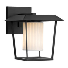 Limoges Patina Large Outdoor Wall Sconce, Cylinder/Flat, Black, Waterfall, LED